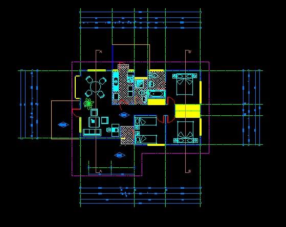 فایل اتوکد پلان معماری طبقه همکف ساختمان ویلایی با سقف شیروانی با اندازه گذاری و مبلمان کامل قابل ویرایش